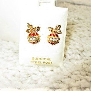Christmas Ball Stud Earrings-New